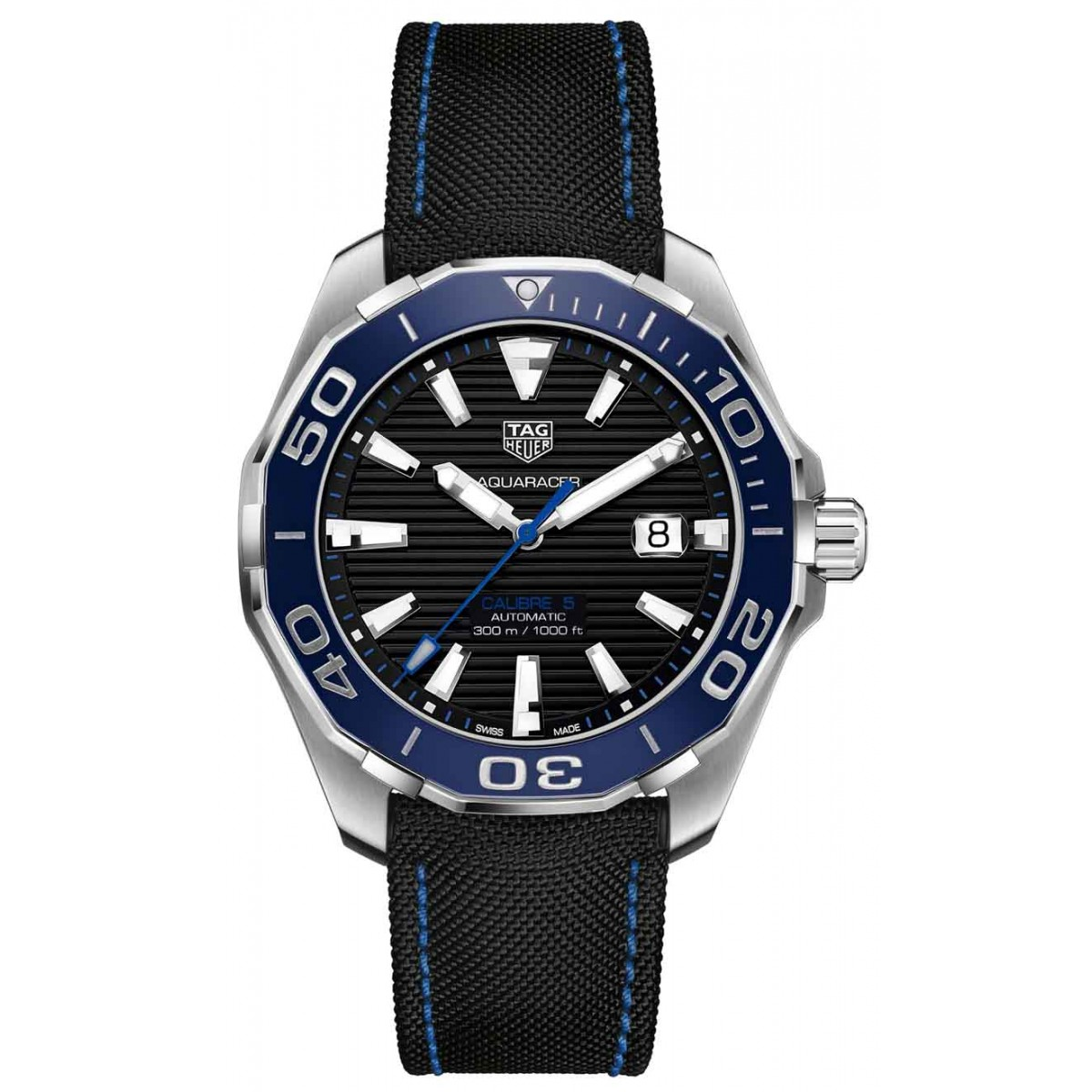 TAG HEUER AQUARACER Calibre 5 Automatic Watch 300 M - 43 mm - ∅43 mm Ceramic Bezel, Esfera negra, caucho
