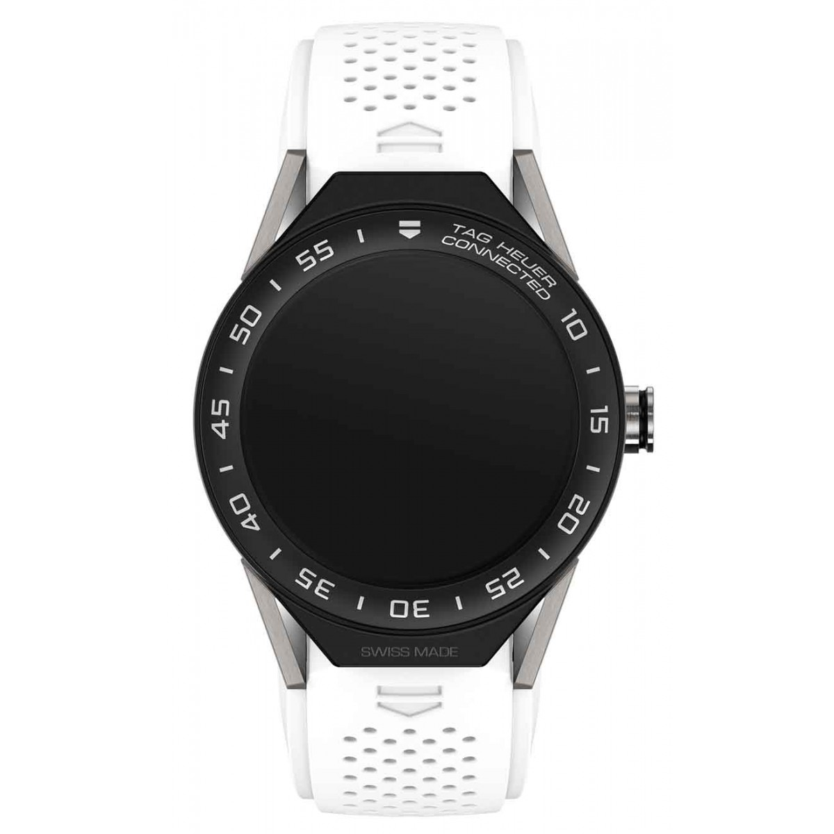 TAG HEUER CONNECTED MODULAR 45 50 M - ∅45 mm Caucho blanco con bisel de cerámica negra mate