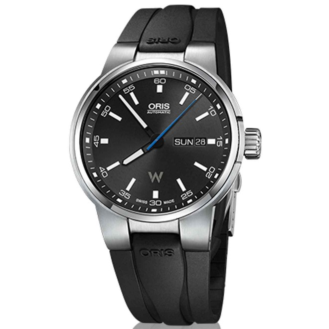 Oris Williams Day Date - 100 M - ∅42 mm, Automatico, Esfera negra, Caucho
