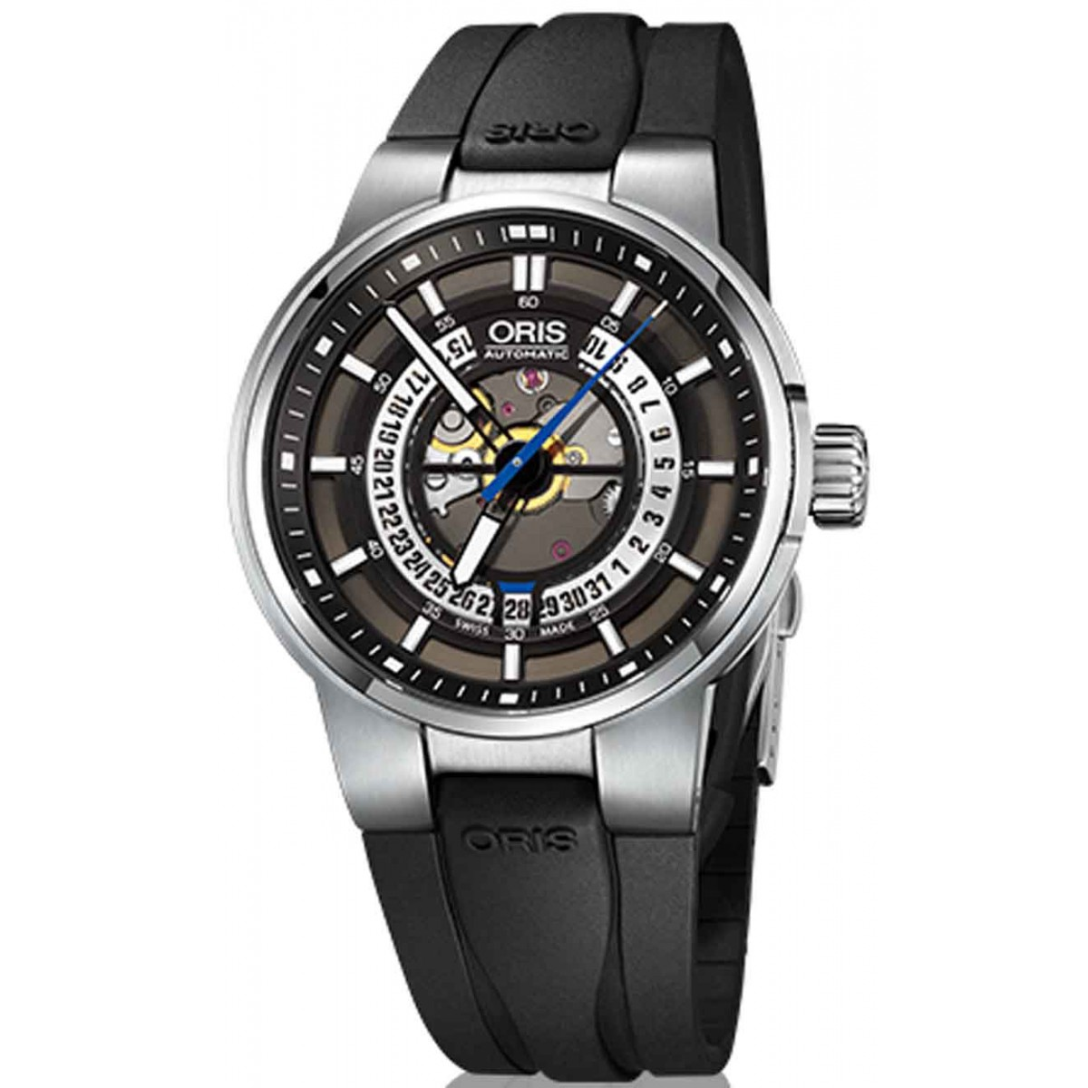 Oris Williams Engine Date - 100 M ∅42 mm, Automatico, Esfera Esqueleto, Caucho