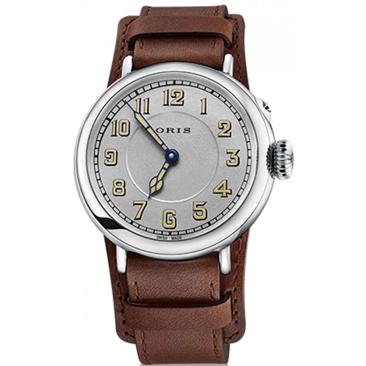 ORIS BIG CROWN 1917 LIMITED EDITION - 5 BAR ∅40 mm, Automatico, Esfera Plata, Correa Piel