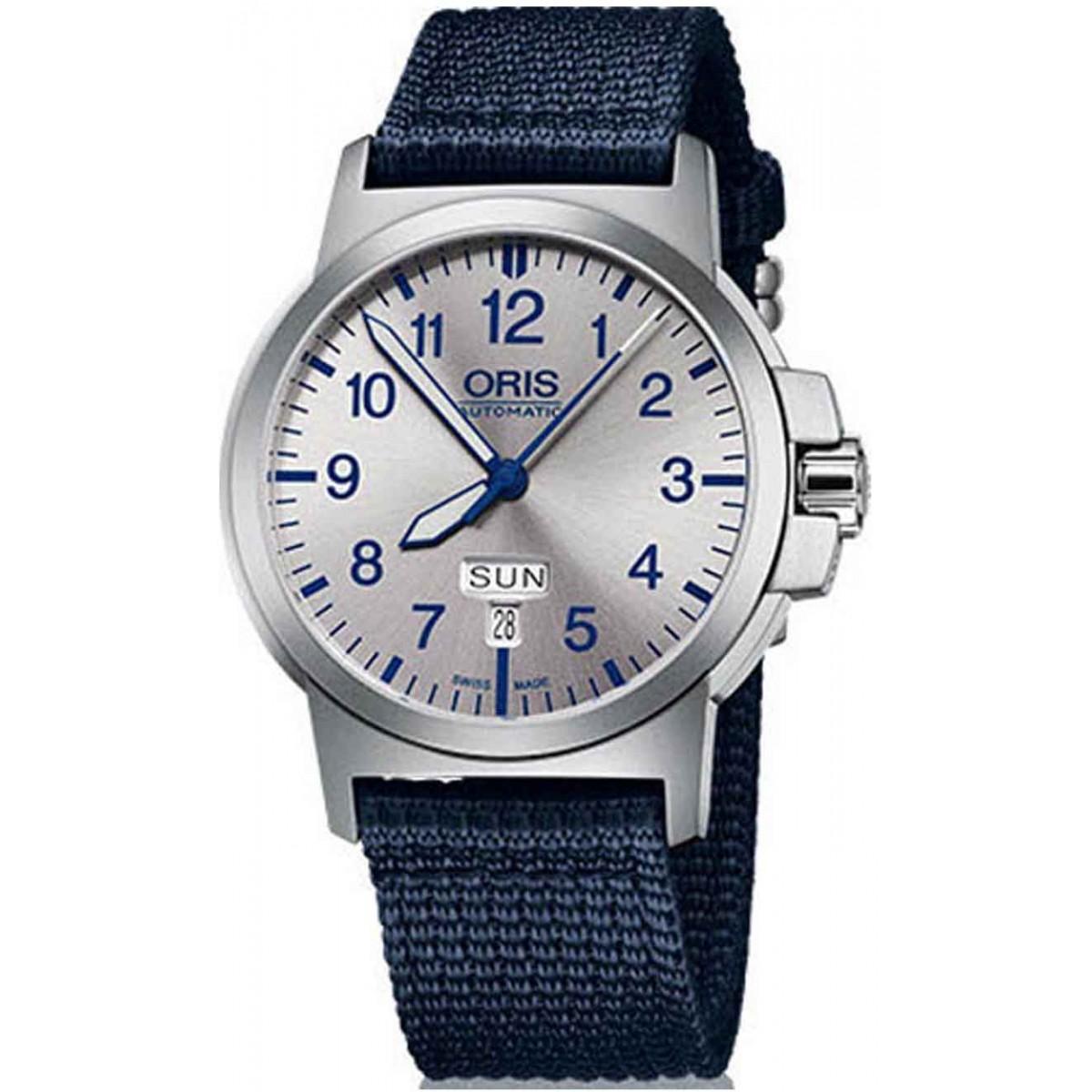 ORIS BC3 ADVANCED, DAY DATE - 100 M ∅42 mm, Automatico, Esfera plata, Tela azul