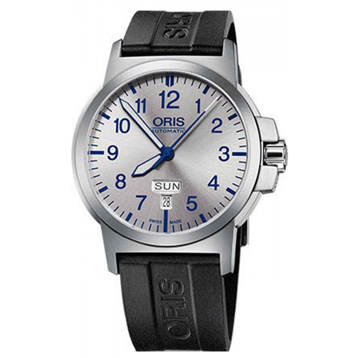 ORIS BC3 ADVANCED, DAY DATE - 100 M ∅42 mm, Automatico, Esfera plata, Caucho