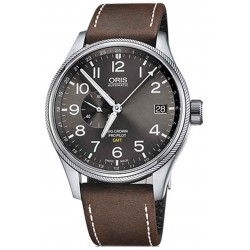 ORIS BIG CROWN PROPILOT GMT, SMALL SECOND - 100 M ∅45 mm, Automatico, Esfera gris, Piel Marrón