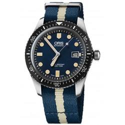 ORIS DIVERS SIXTY-FIVE -100 M ∅42 mm, Esfera azul, tela azul