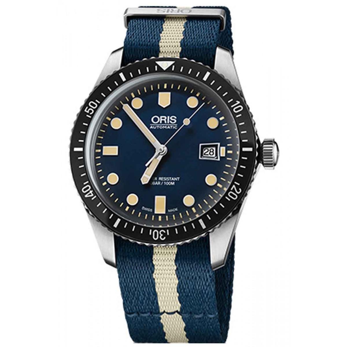 ORIS DIVERS SIXTY-FIVE -100 M ∅45 mm, Esfera azul, tela azul