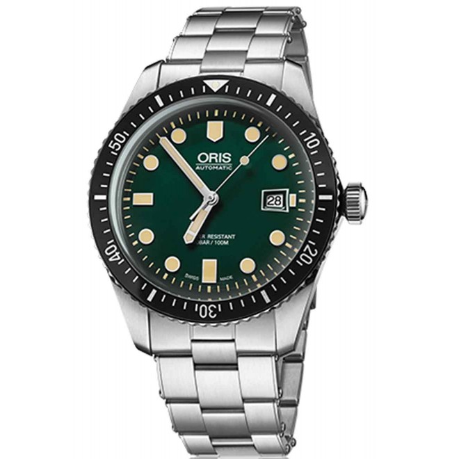 ORIS DIVERS SIXTY-FIVE -100 M ∅45 mm, Esfera verde, Acero