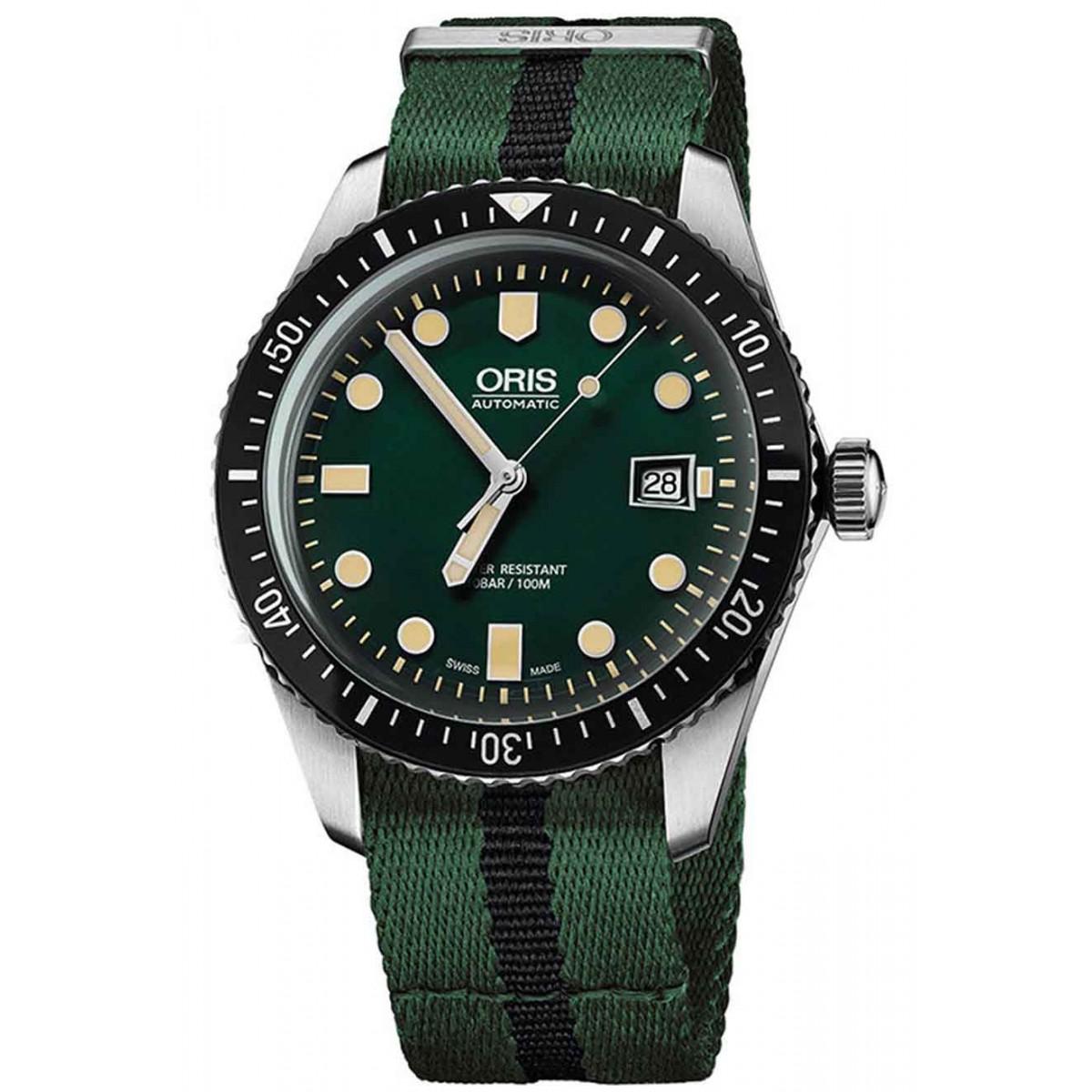 ORIS DIVERS SIXTY-FIVE -100 M ∅45 mm, Esfera verde, Tela verde