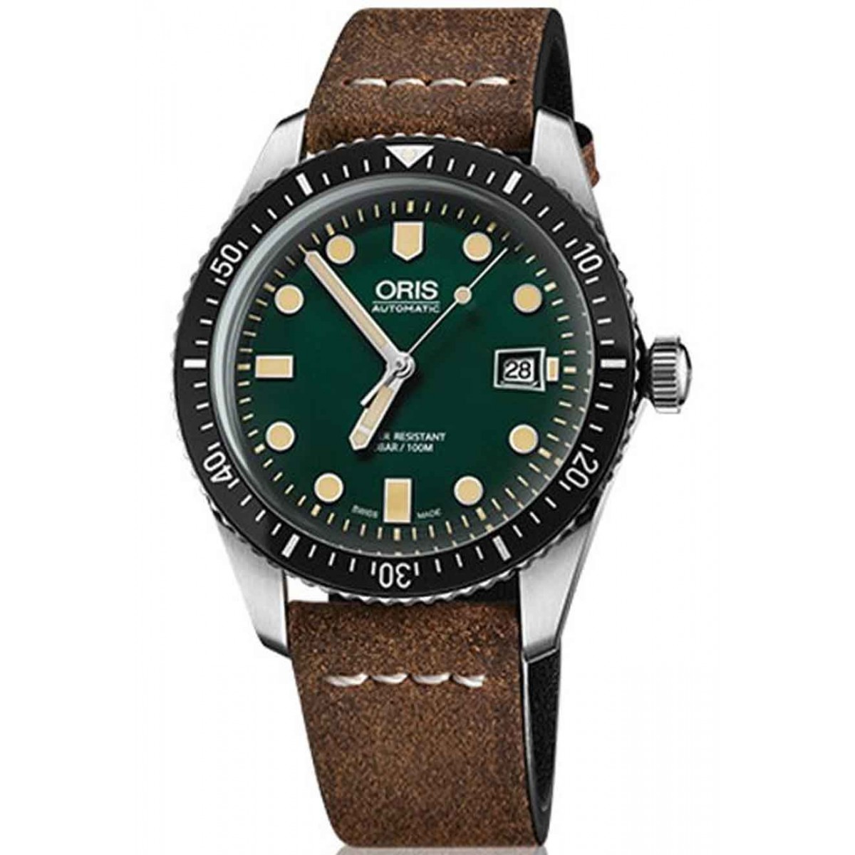 ORIS DIVERS SIXTY-FIVE -100 M ∅42 mm, Esfera verde, Piel Marrón