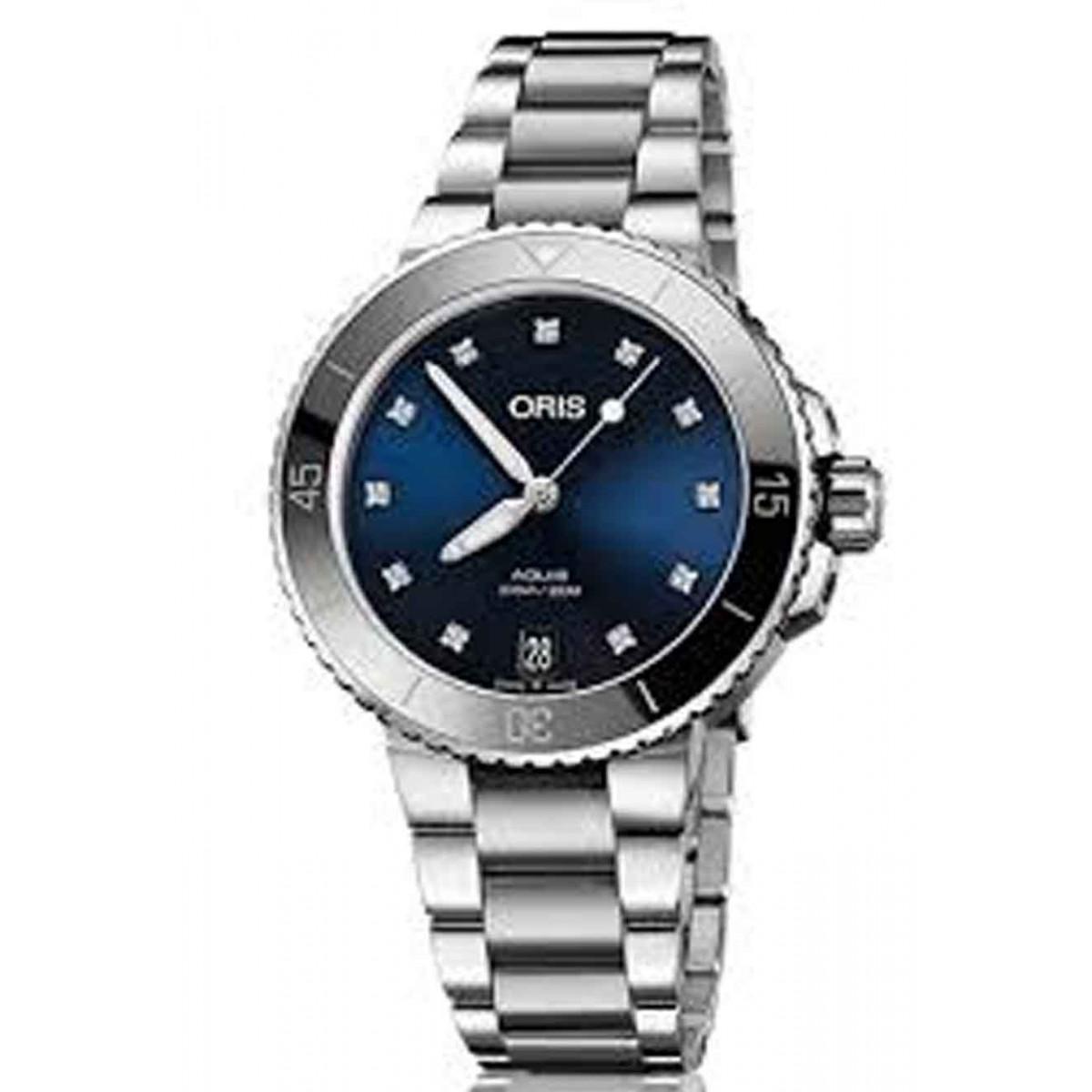 ORIS AQUIS DATE -300 M ∅36,5 mm, Esfera azul diamantes, acero