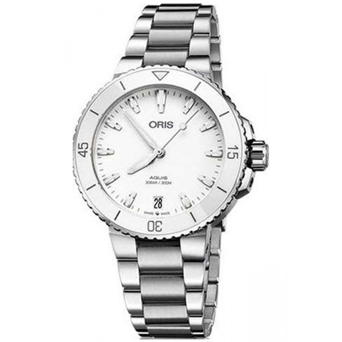 ORIS AQUIS DATE Lady -300 M ∅36,5 mm, Esfera blanca, Caucho blanco