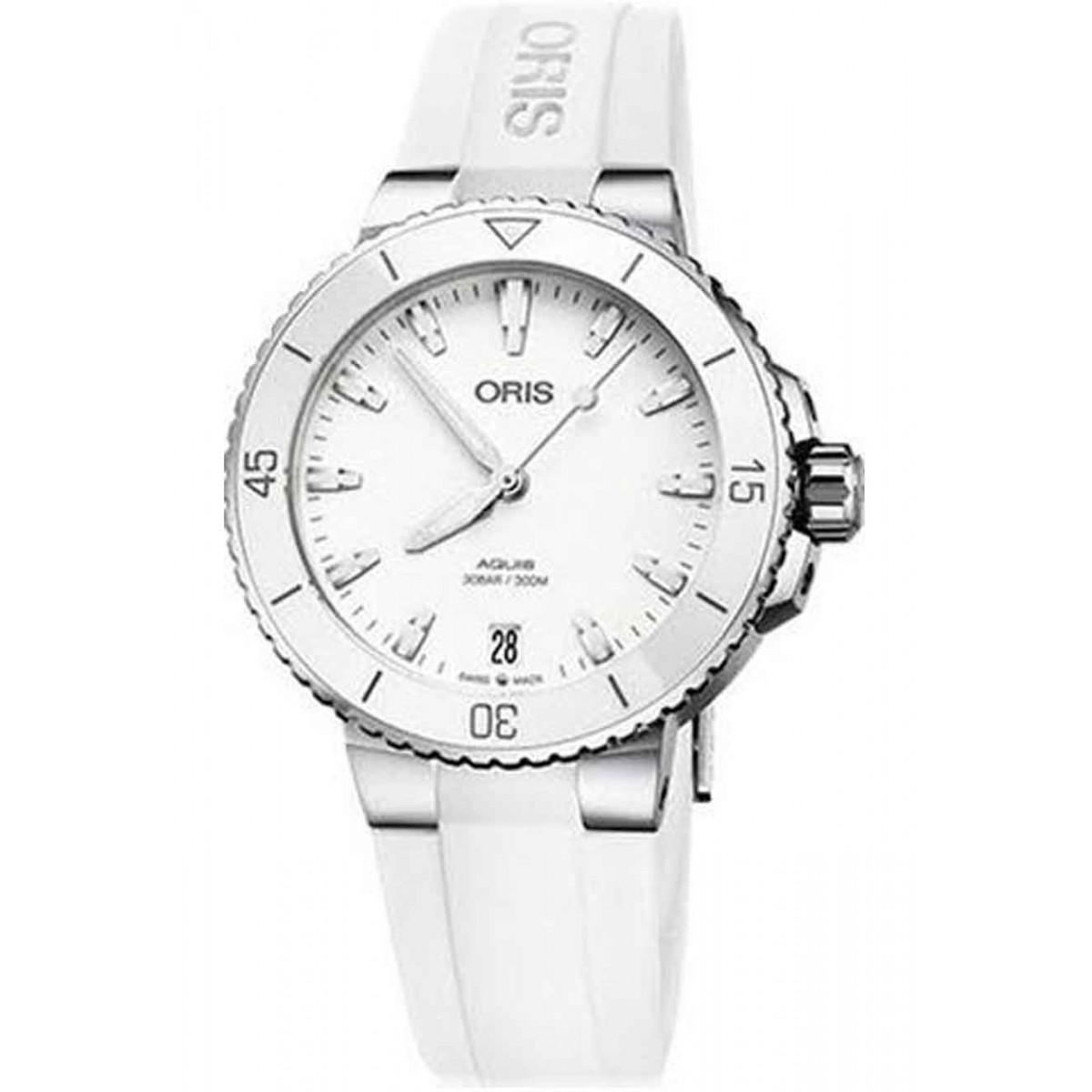 ORIS AQUIS DATE Lady -300 M ∅36,5 mm, Esfera blanca, Caucho