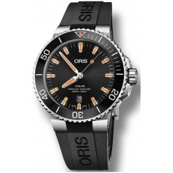ORIS AQUIS DATE -300 M ∅43,5 mm, Esfera negra, Indices naranjas, Caucho