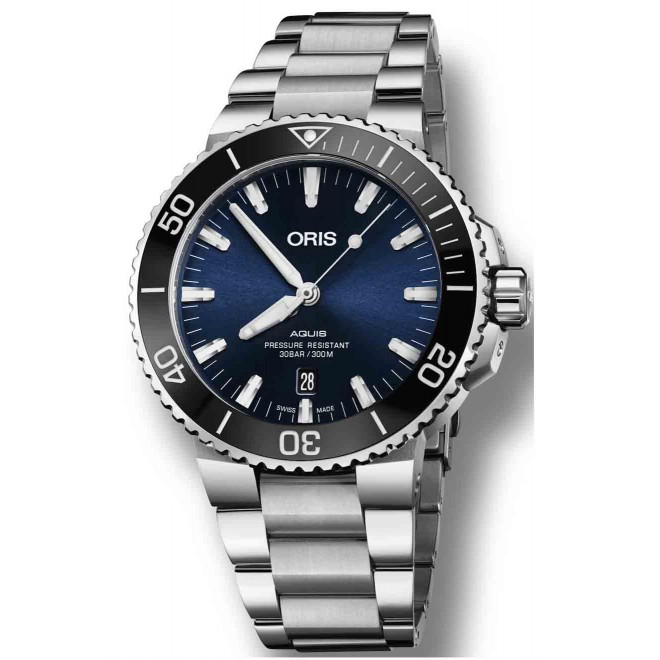ORIS AQUIS DATE -300 M ∅43,5 mm, Esfera azul, bisel negro, Acero