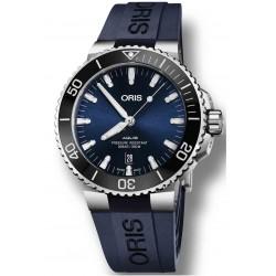 ORIS AQUIS DATE -300 M ∅43,5 mm, Esfera azul, bisel negro, Caucho azul