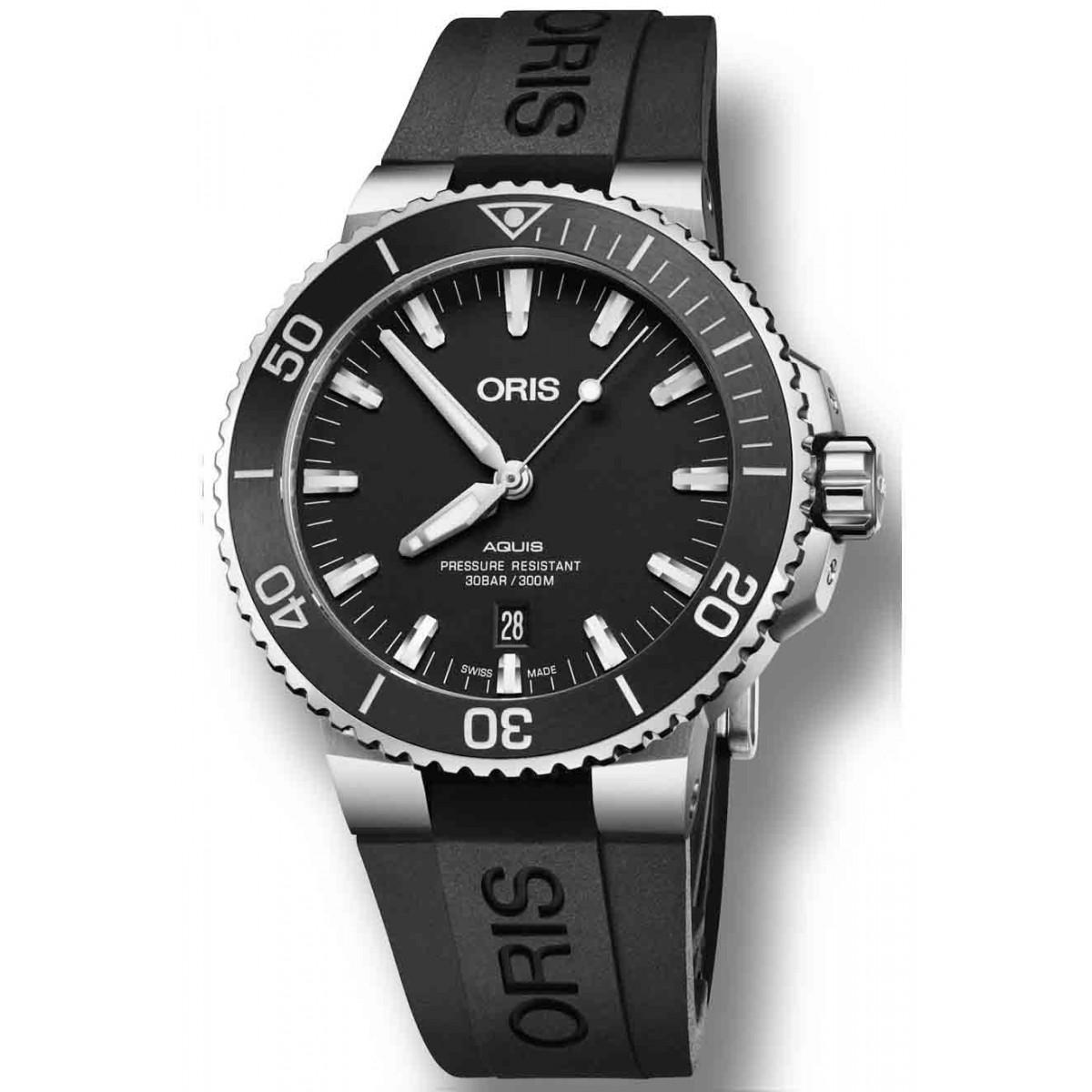 ORIS AQUIS DATE -300 M ∅43,5 mm, Esfera negra, bisel negro, Caucho negro
