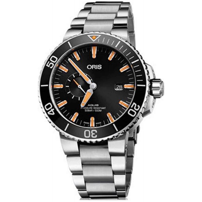 ORIS AQUIS SMALL SECOND, DATE -500 M ∅45,5 mm, Esfera negra, indices naranjas, Acero