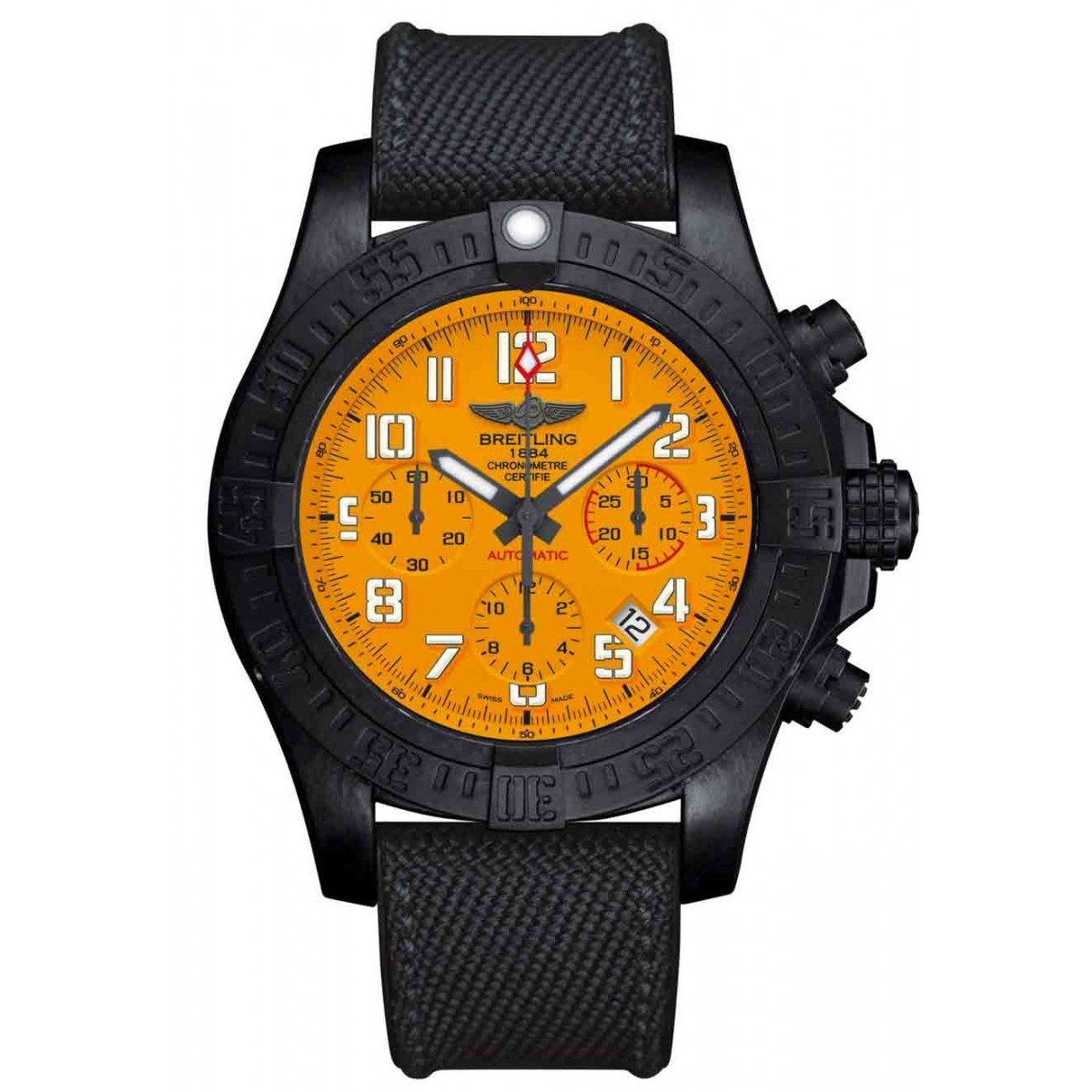 Breitling Hurricane 12h - 100 M - ∅45 mm, Esfera Cobra Yellow, Military caucho