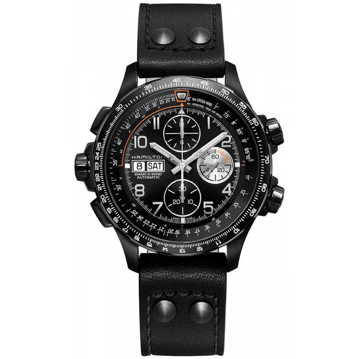 HAMILTON KHAKI AVIATION X-WIND AUTO CHRONO- 100 M - ∅45 MM, ESF NEGRA, PIEL NEGRA