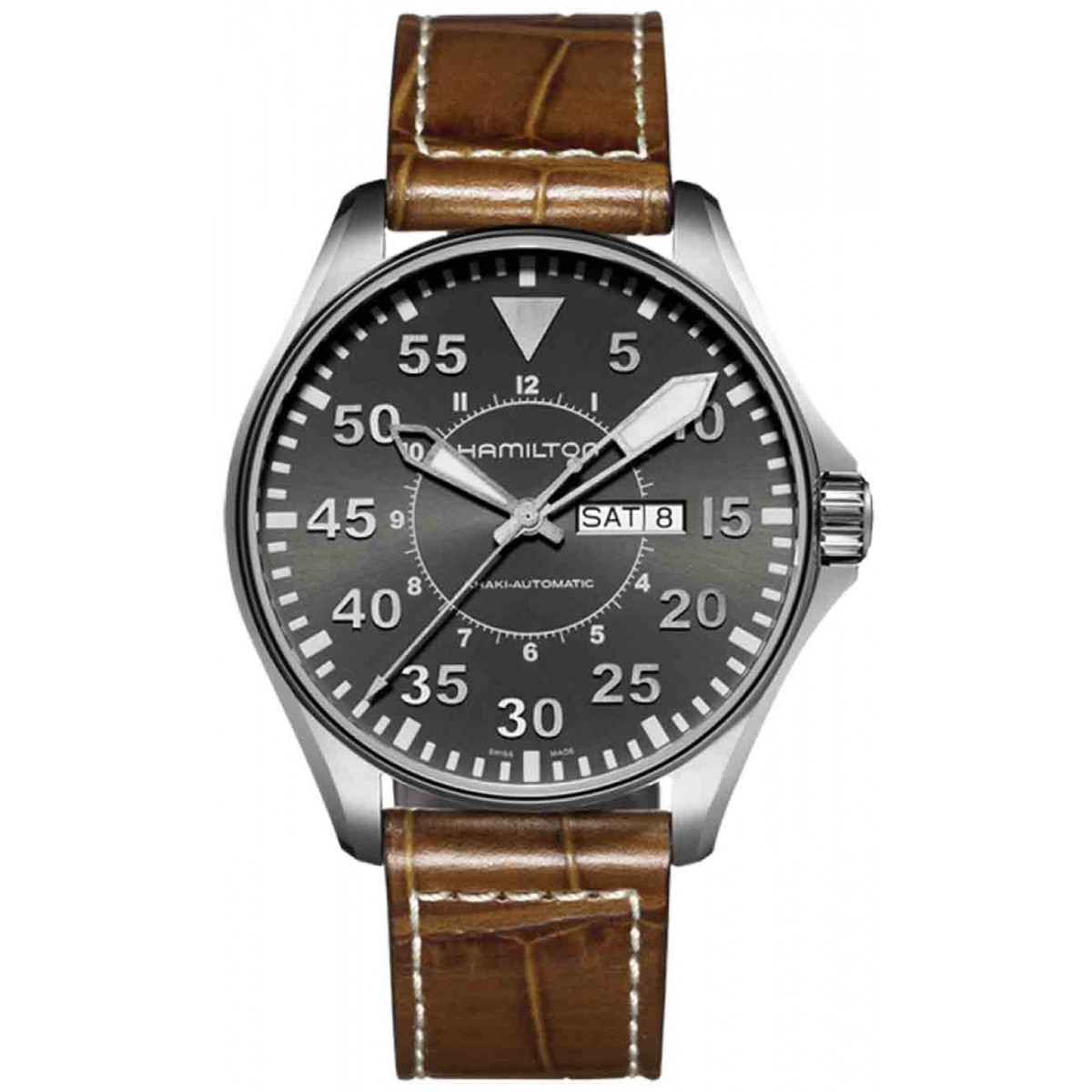 HAMILTON KHAKI AVIATION PILOT AUTO 200 M - ∅46 mm, Esfera gris, brazalete de piel marrón