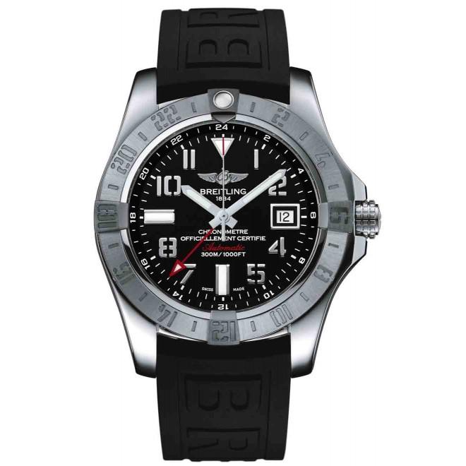 Breitling Avenger II GMT - 300 M - ∅43 mm, Esfera negra número, brazalete de caucho negro