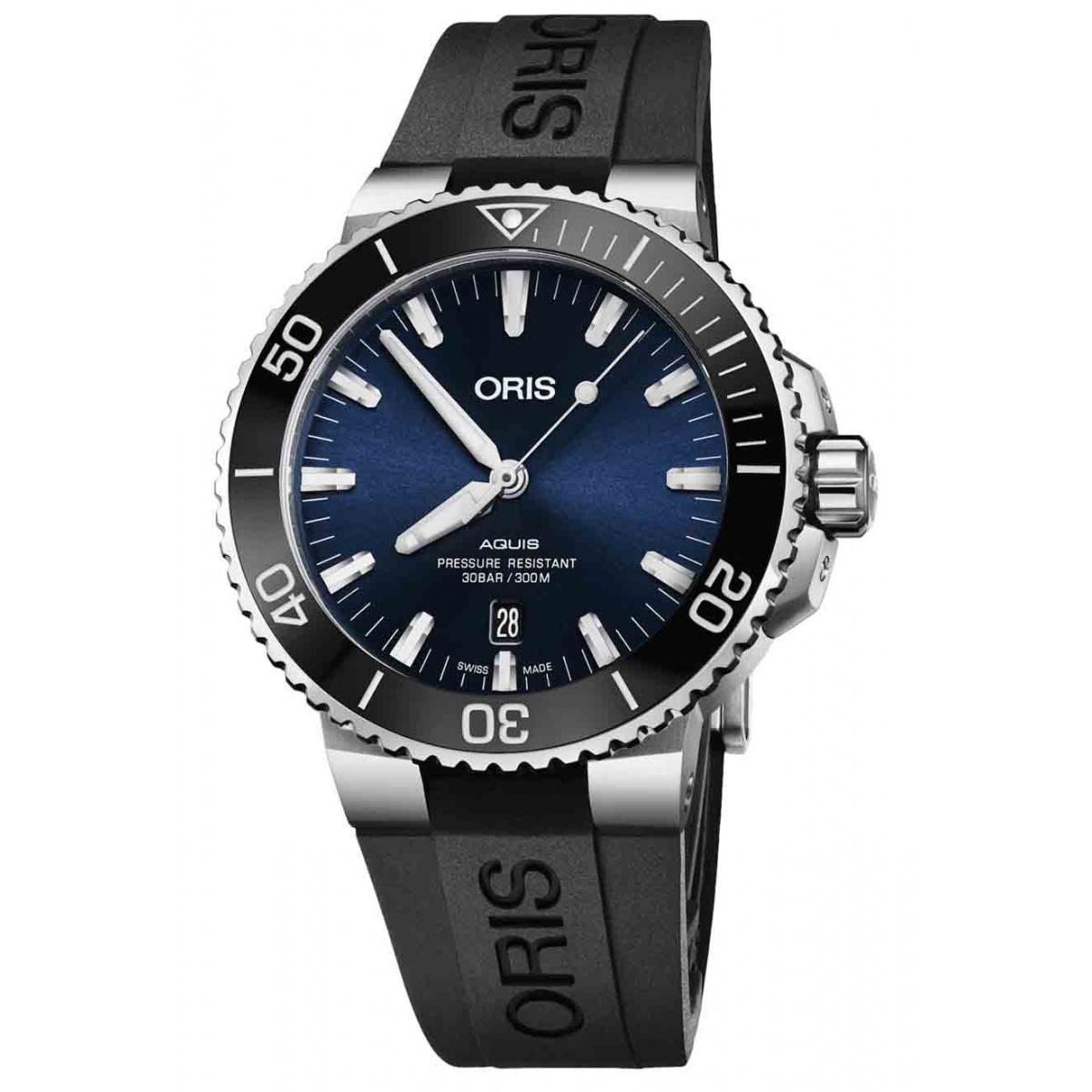 ORIS AQUIS DATE -300 M ∅43,5 mm, Esfera azul, bisel negro, Caucho negro