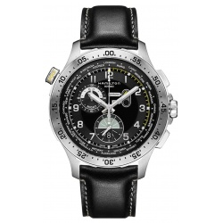 HAMILTON KHAKI AVIATION WORLDTIMER CHRONO QUARTZ 100 M - ∅45 mm, Esfera negra, piel negra