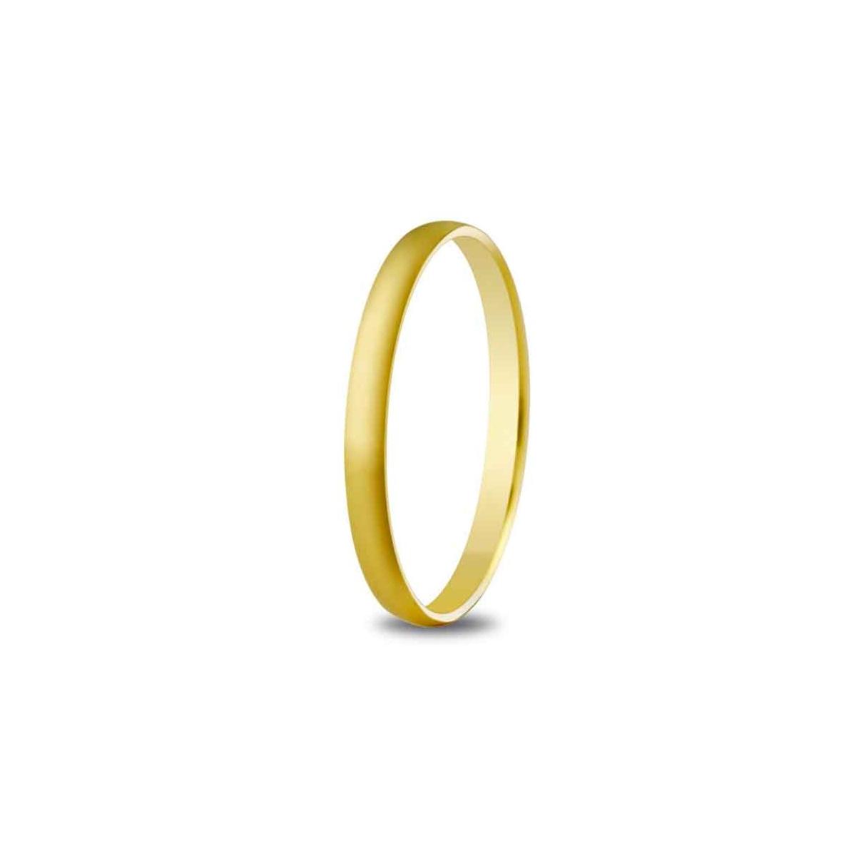 Alianza de boda 2mm de ancho en oro amarillo de 18 quilates