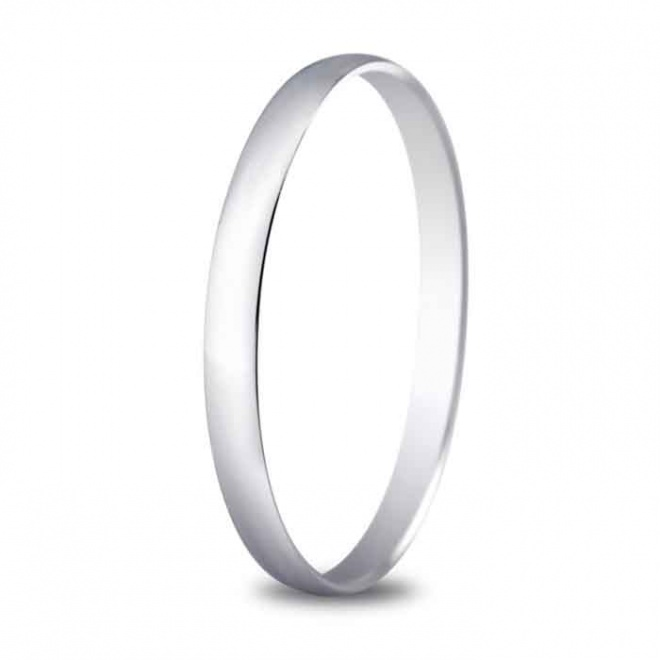 Alianza de boda 2 mm de ancho en oro blanco de 18 quilates
