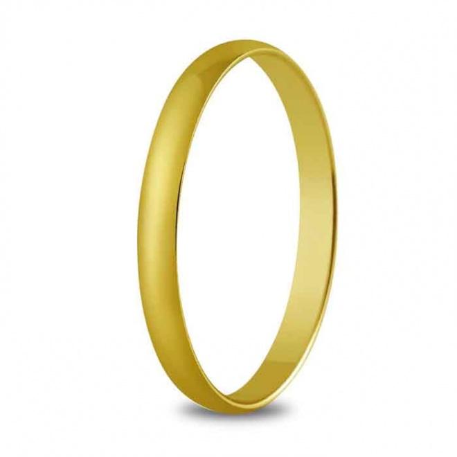 Alianza de boda 2,5 mm de ancho en oro amarillo de 18 quilates