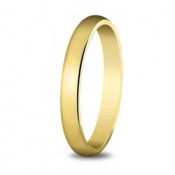 Alianza de boda 3 mm de ancho, perfil alto en oro amarillo de 18 quilates