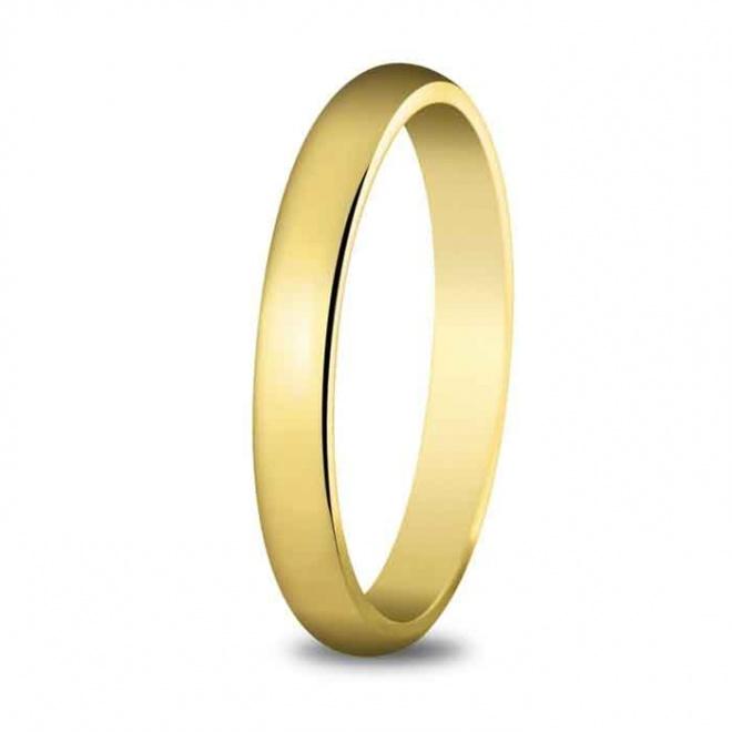 Alianza de boda 3 mm de ancho perfil alto en oro amarillo de 18 quilates