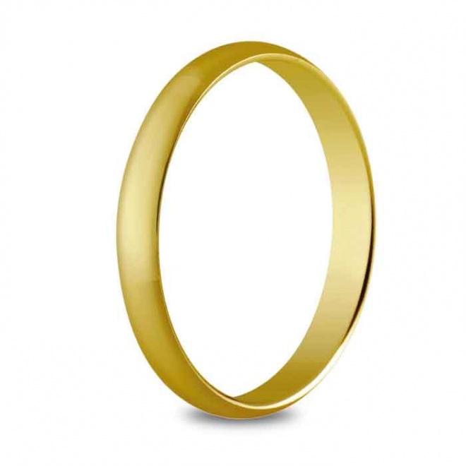Alianza de boda 3 mm de ancho en oro amarillo de 18 quilates