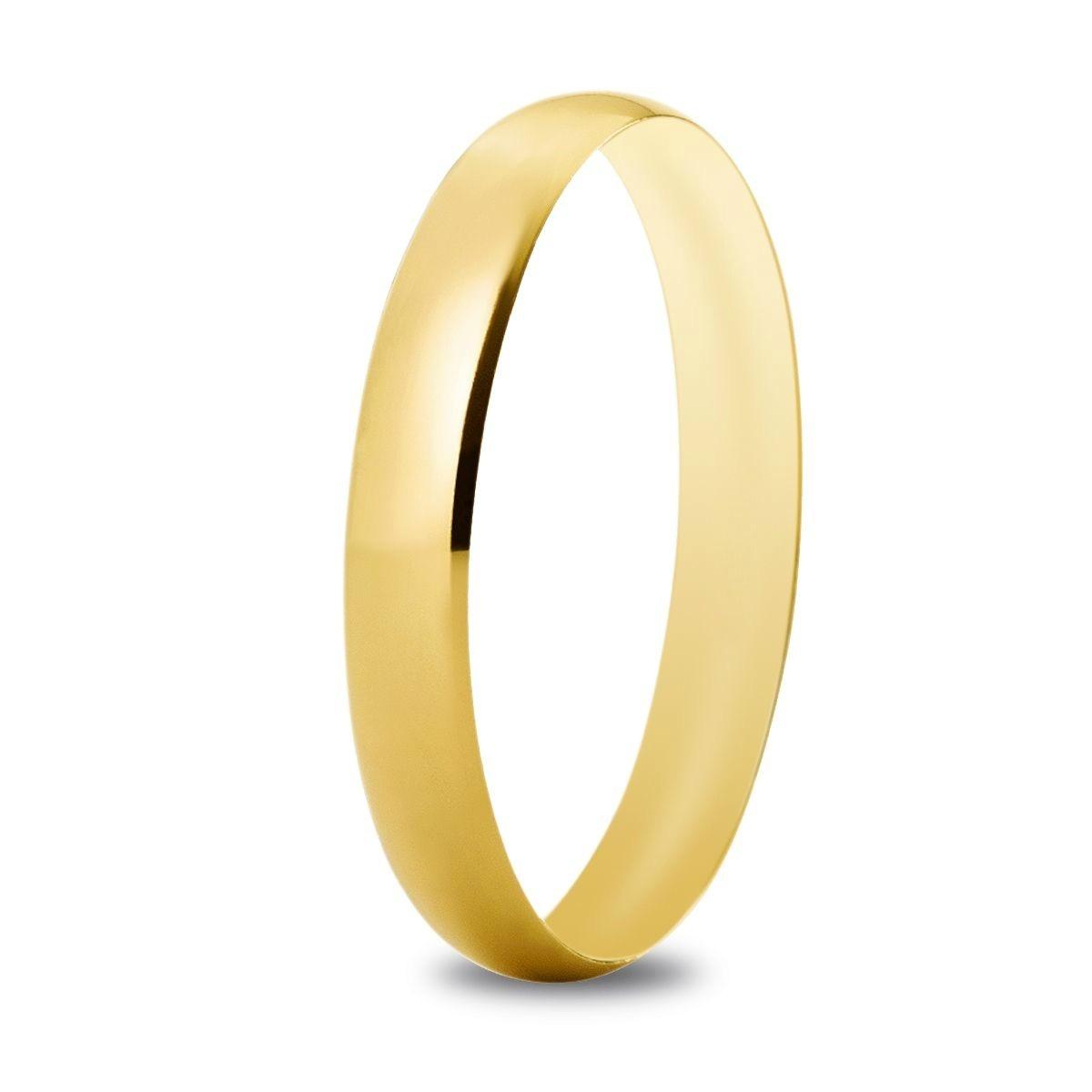 Alianza de boda 3,3 mm de ancho en oro amarillo de 18 quilates