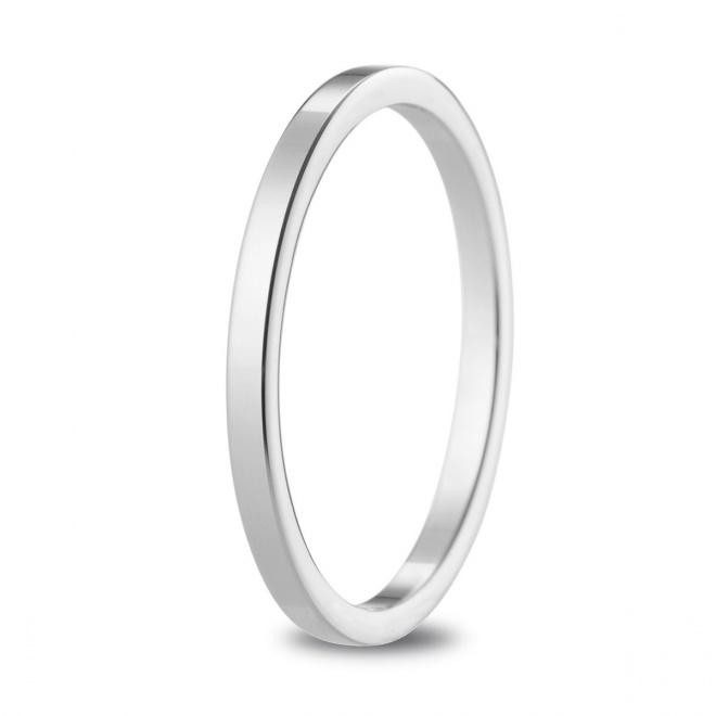 Alianza de boda 1,65 mm de ancho en oro blanco de 18 quilates