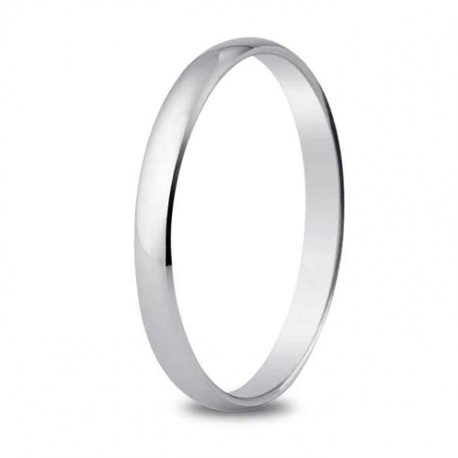 Alianza de boda 2,5 mm de ancho en oro blanco de 18 quilates