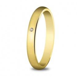 Alianza de boda 3 mm de ancho en oro amarillo de 18 quilates, engastado con diamante de 0,03 quilates.