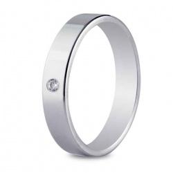 Alianza de boda 4 mm de ancho en oro blanco de 18 quilates, engastado con diamante de 0,02 quilates.