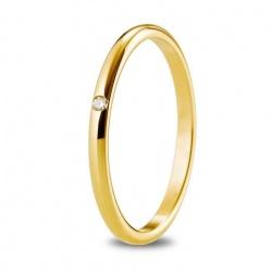 Alianza de 1,80 mm de ancho en oro amarillo de 18 quilates, engastado con diamante de 0,015 quilates.