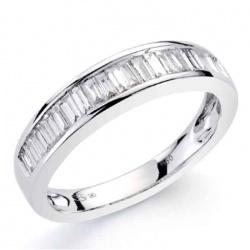 Anillo Oro Blanco 0,45 Quilates Diamantes talla Baguette