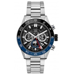 TAG HEUER CARRERA Calibre HEUER02 GMT Automatic 100 m - ∅45 mm, Bisel Azul y Negro, Brazalete Acero