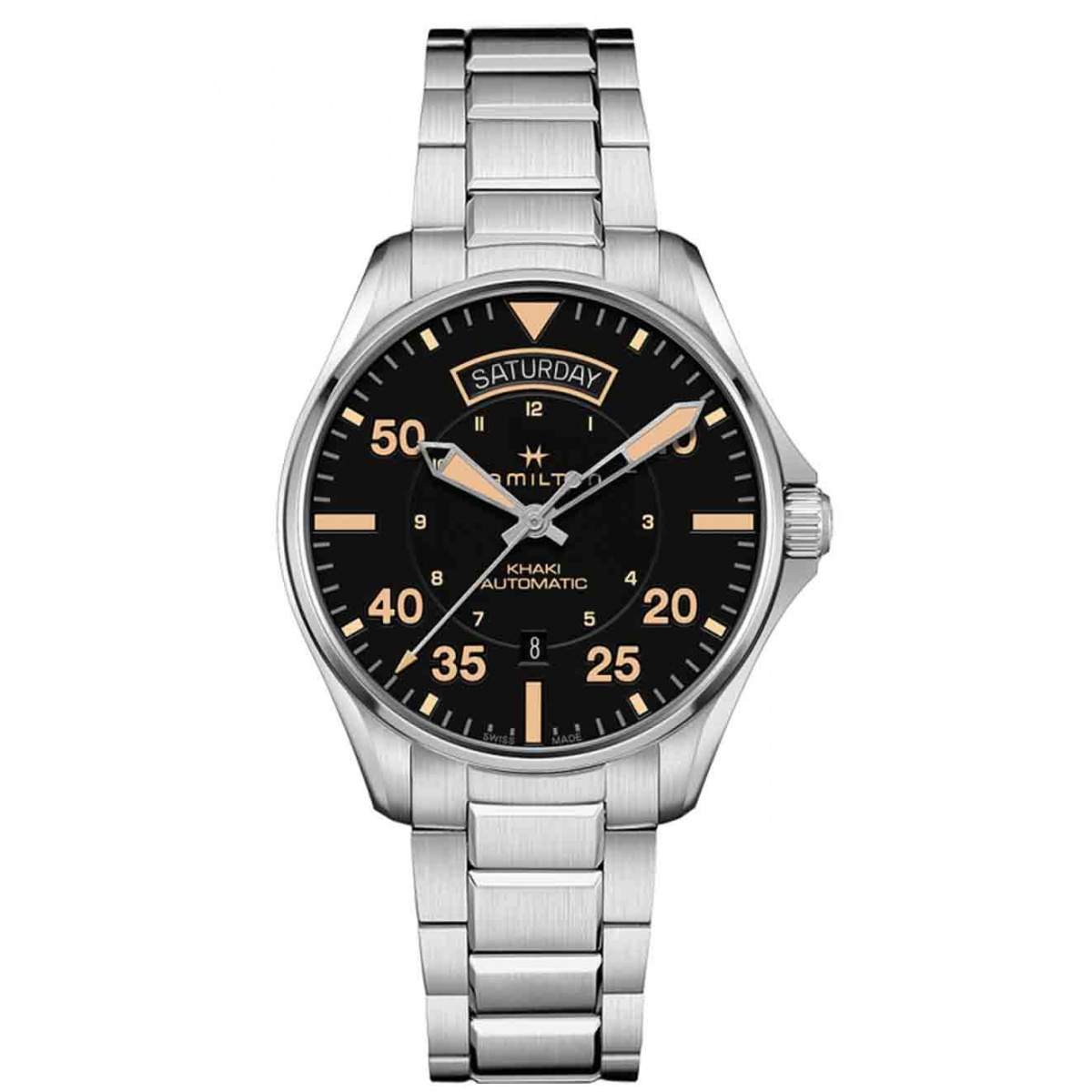 HAMILTON KHAKI AVIATION DAY DATE AUTO - 100 M - ∅42 mm, Esfera negra, brazalete de acero