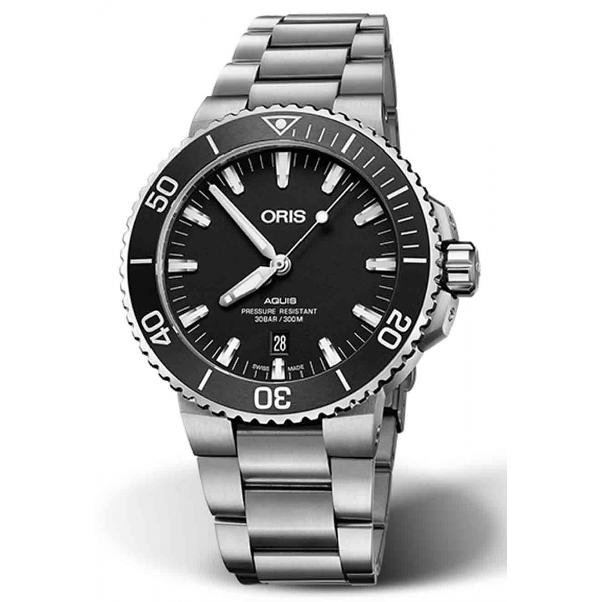 ORIS AQUIS DATE 300 M ∅43,5 mm , Esfera negra, brazalete de acero