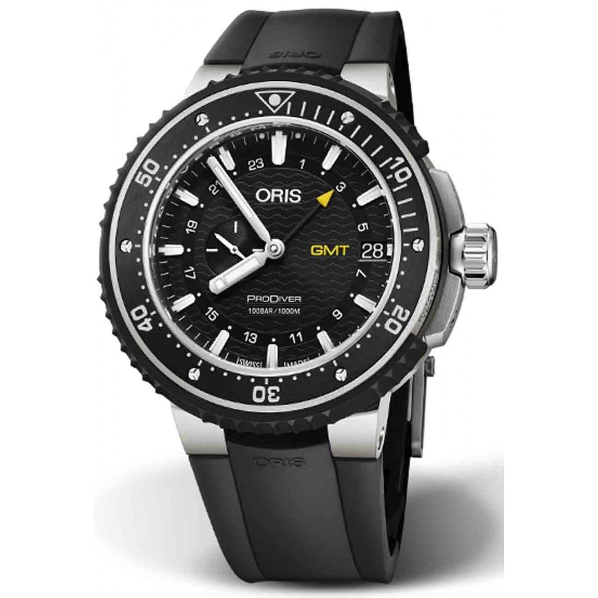 ORIS PRODIVER GMT 100 M ∅49 mm, Esfera negra, brazalete de caucho negro