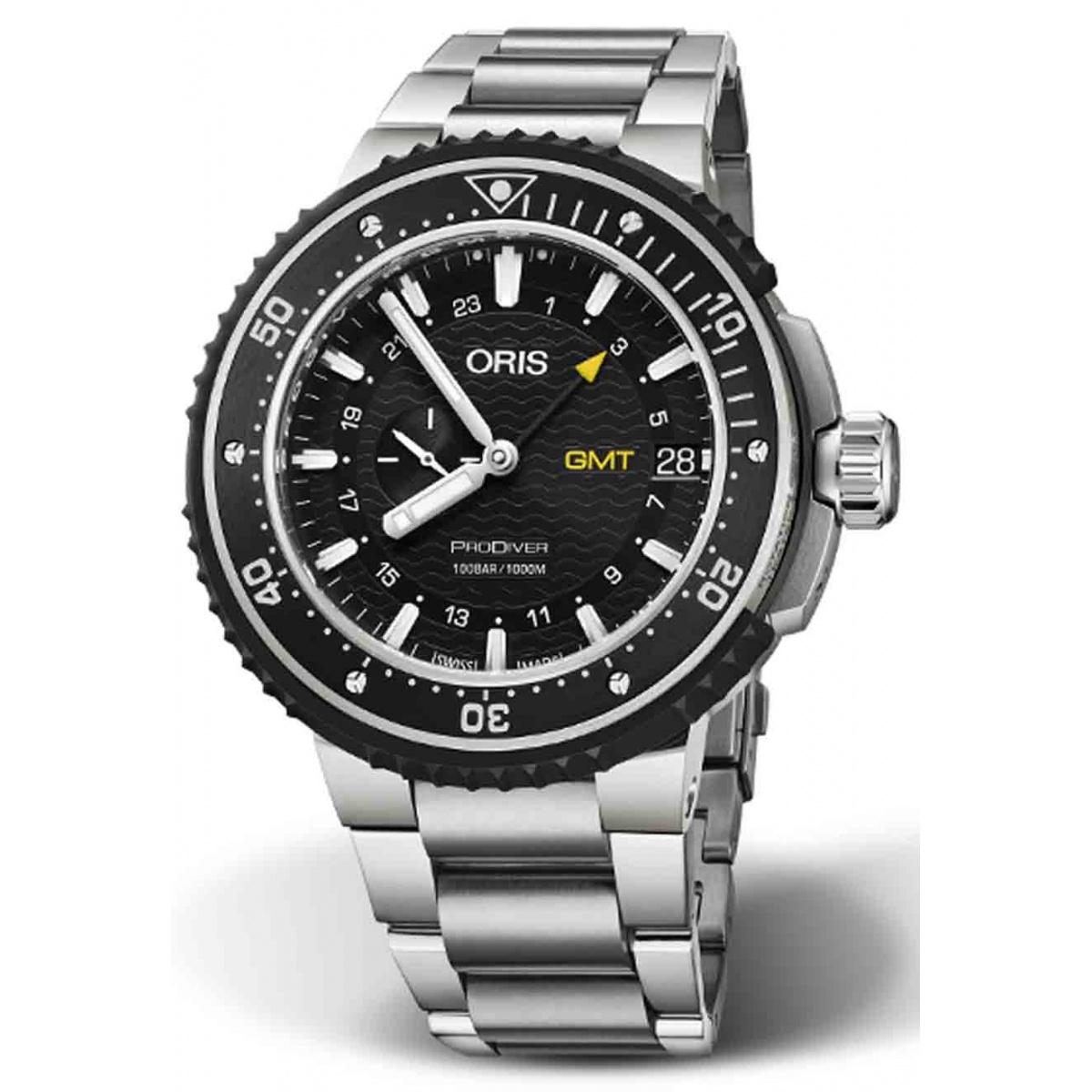 ORIS PRODIVER GMT 100 M ∅49 mm, Esfera negra, brazalete de acero