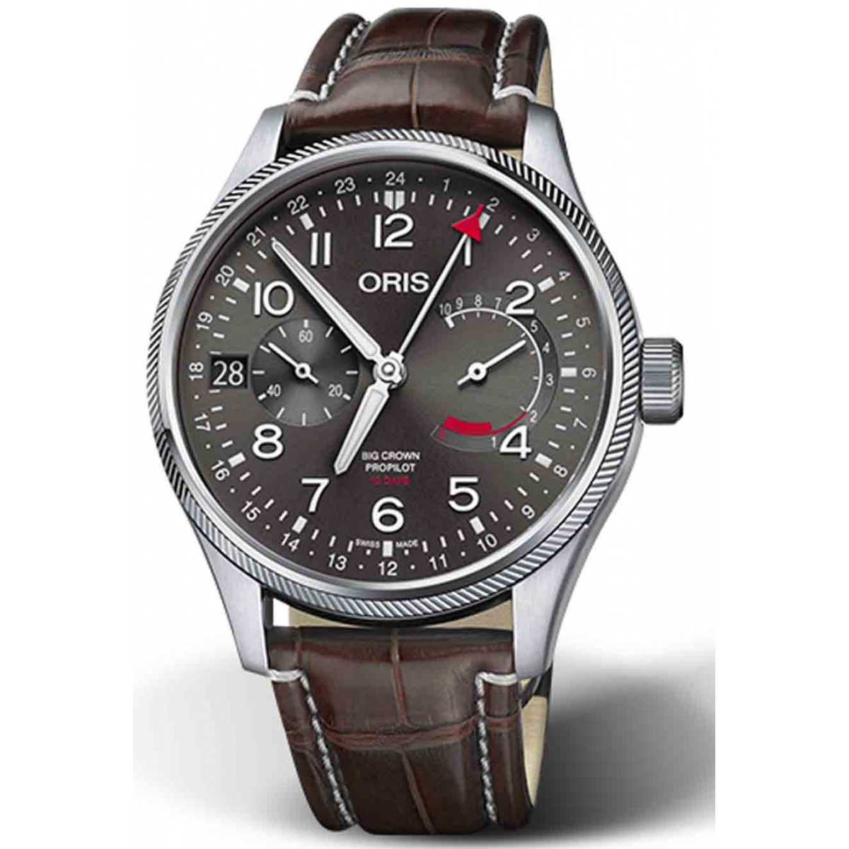 ORIS BIG CROWN PROPILOT CALIBRE 114 - 100 M ∅44 mm, Esfera gris, brazalete marrón