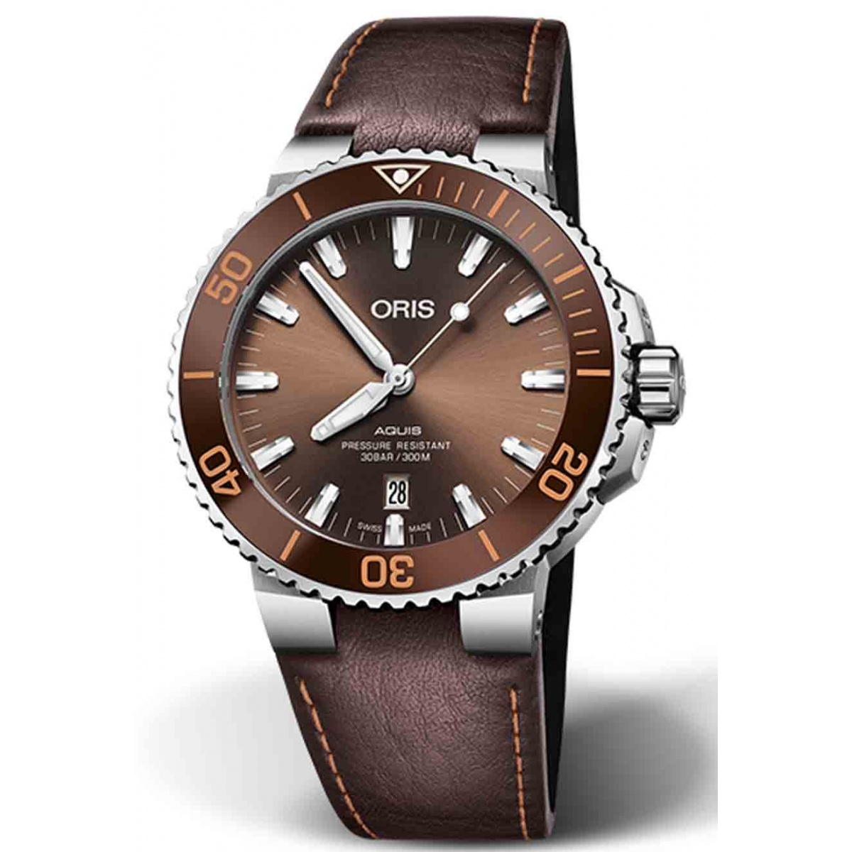 ORIS AQUIS DATE 300 M ∅43,5 mm, Esfera castaña, brazalete de piel marrón