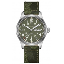 HAMILTON KHAKI FIELD DAY DATE AUTO - 100 M - ∅42 mm, Esfera verde, correa textil verde camouflage