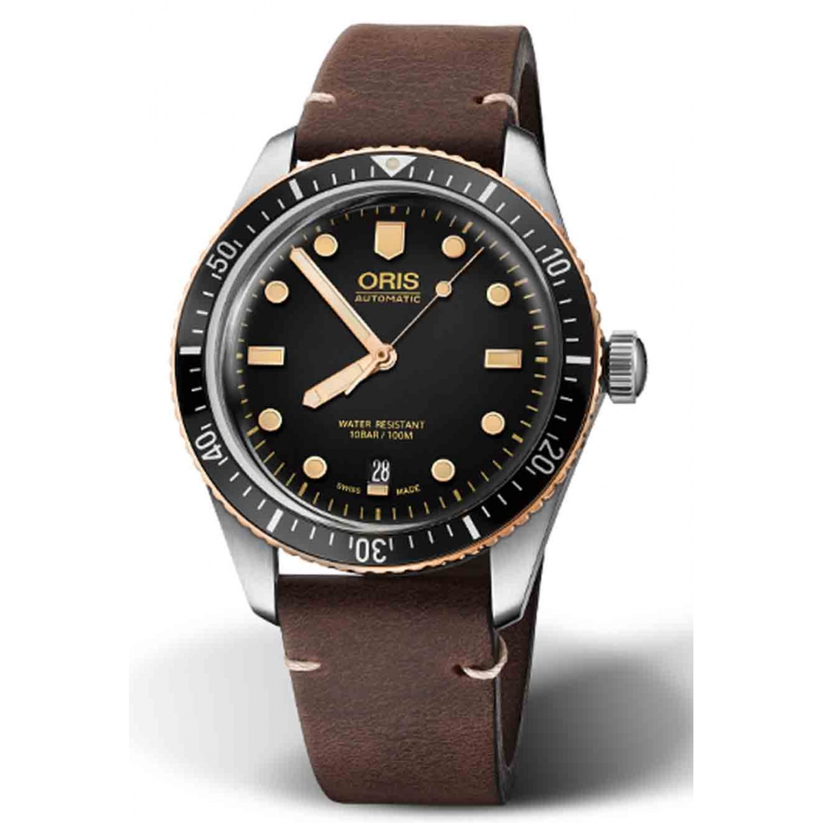 ORIS DIVERS SIXTY-FIVE 100 M ∅40 mm, Esfera negra, caja de acero y bronce, piel marrón