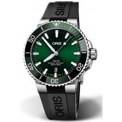 ORIS AQUIS DATE -300 M ∅43,5 mm, Esfera verde, caucho negro